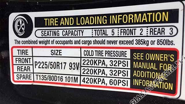 Thông số áp suất xe Honda Accord