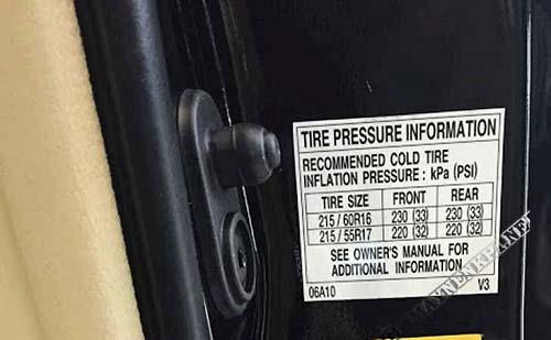 Thông số áp suất xe Toyota Camry